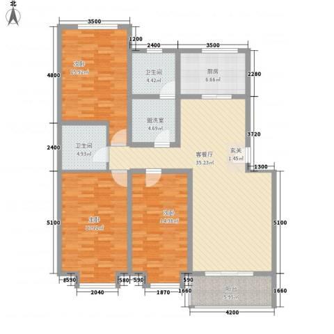 凝瑞苑3室1厅2卫1厨135.00㎡户型图