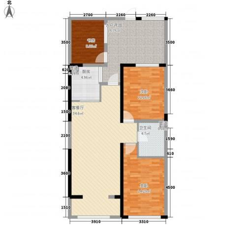 天力水榭春城3室1厅1卫1厨106.00㎡户型图