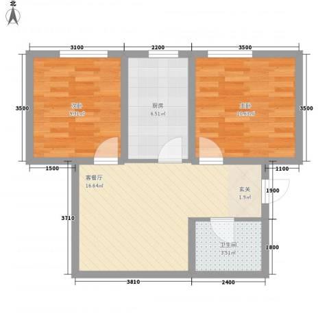 天力水榭春城2室1厅1卫1厨68.00㎡户型图