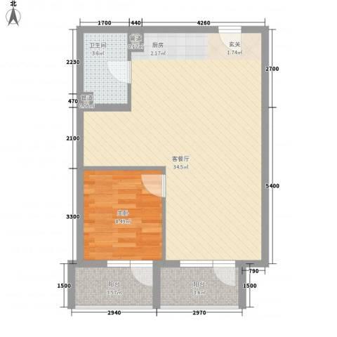 澳景蓝湾1室1厅1卫0厨66.00㎡户型图