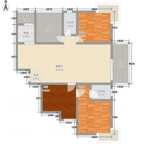 紫郡长安3室1厅2卫1厨159.00㎡户型图