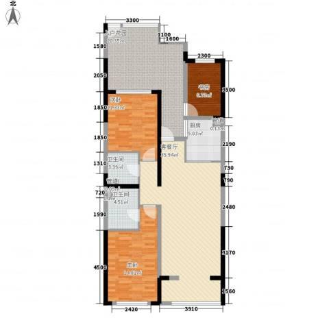 天力水榭春城3室1厅2卫1厨110.00㎡户型图