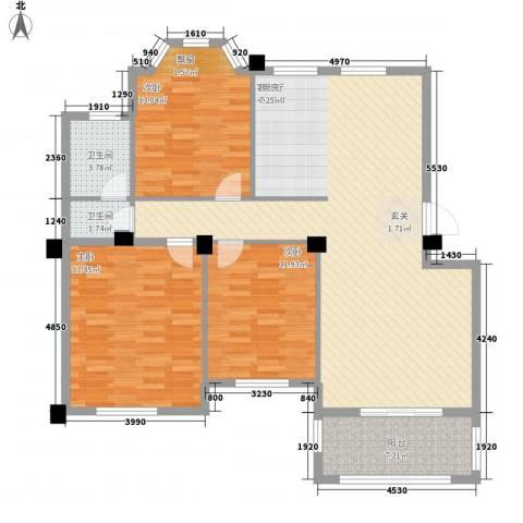 中茵名都3室1厅2卫0厨100.78㎡户型图