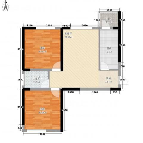 天力水榭春城2室1厅1卫1厨81.00㎡户型图