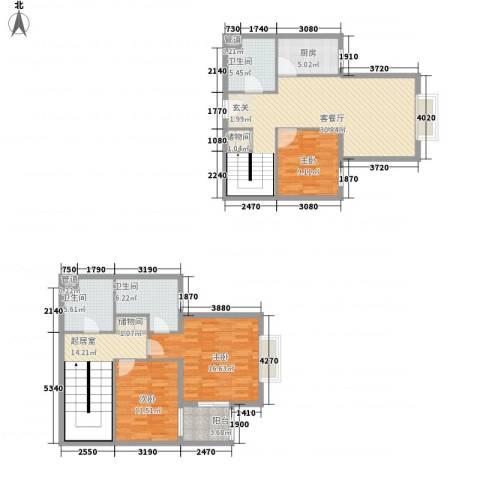 东岸未来城3室1厅3卫1厨158.00㎡户型图