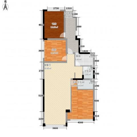 天力水榭春城3室1厅2卫1厨114.00㎡户型图