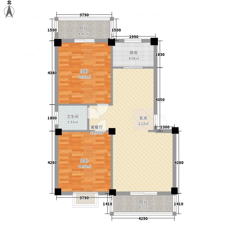 长晖中山豪庭7.56㎡户型2室2厅1卫1厨