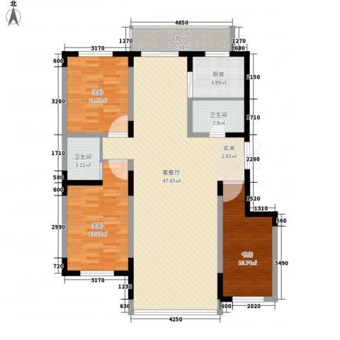 东方万达城3室1厅2卫1厨141.00㎡户型图