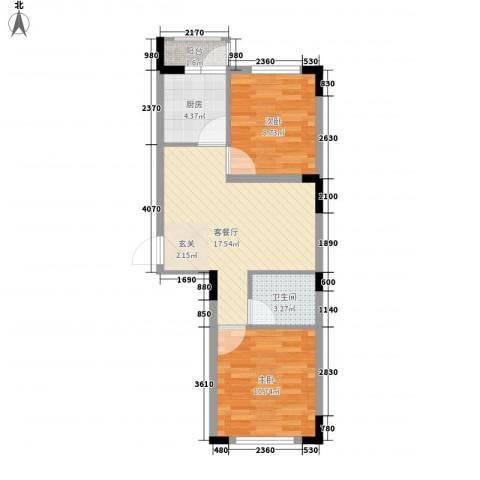 东方万达城2室1厅1卫1厨67.00㎡户型图