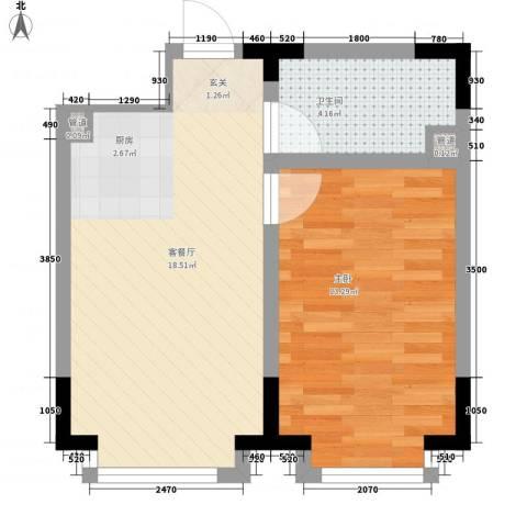 东方万达城1室1厅1卫0厨53.00㎡户型图