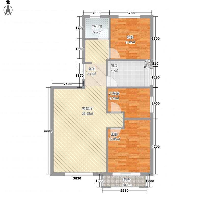岭湾峰尚3.13㎡2#楼D2户型3室2厅1卫1厨