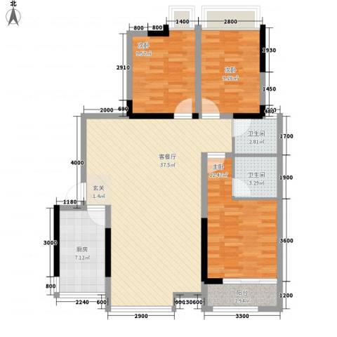 华坤花园二期3室1厅2卫1厨121.00㎡户型图