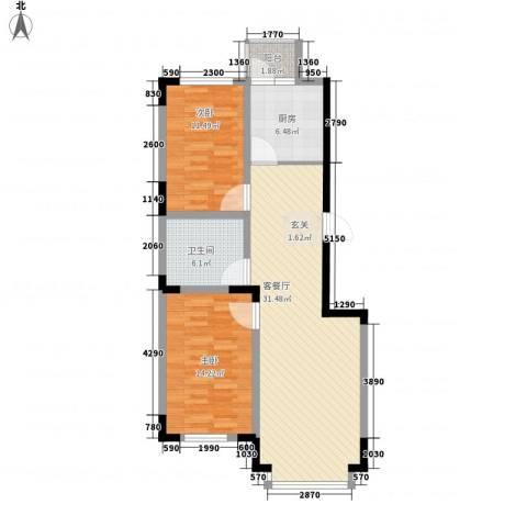 东方万达城2室1厅1卫1厨103.00㎡户型图