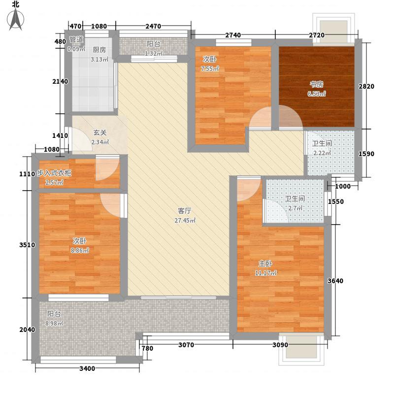 德院上城120.00㎡一期B花园洋房1F平层图户型