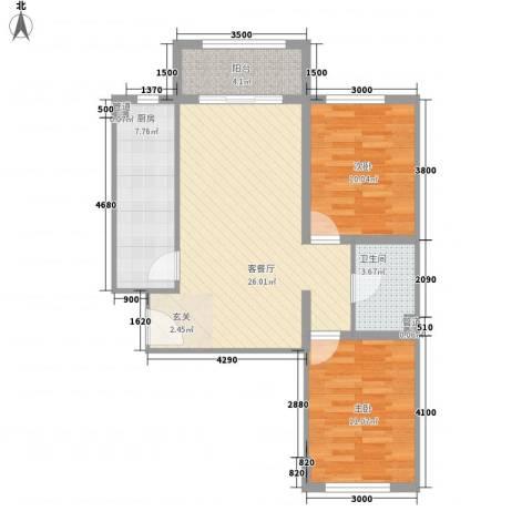 祺泰新居2室1厅1卫1厨86.00㎡户型图