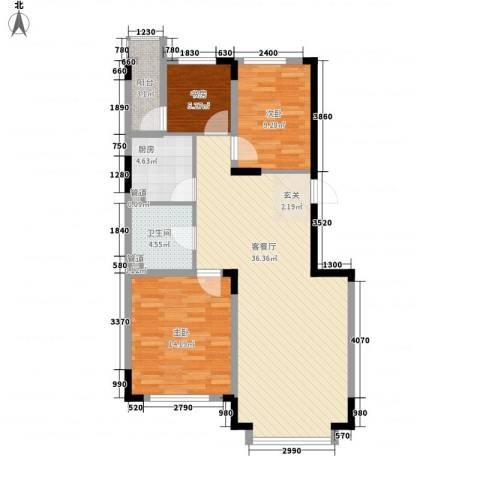 东方万达城3室1厅1卫1厨110.00㎡户型图