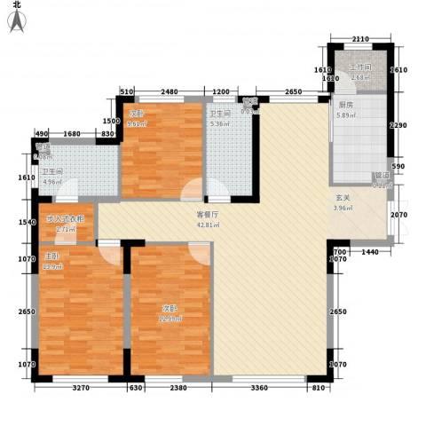 哈佛特区项目3室1厅2卫1厨101.15㎡户型图