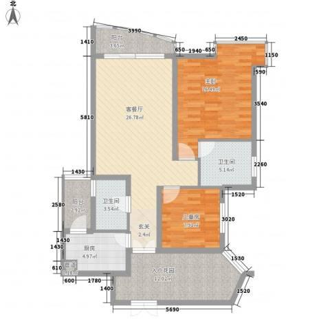 盛世华南2室1厅2卫1厨83.61㎡户型图