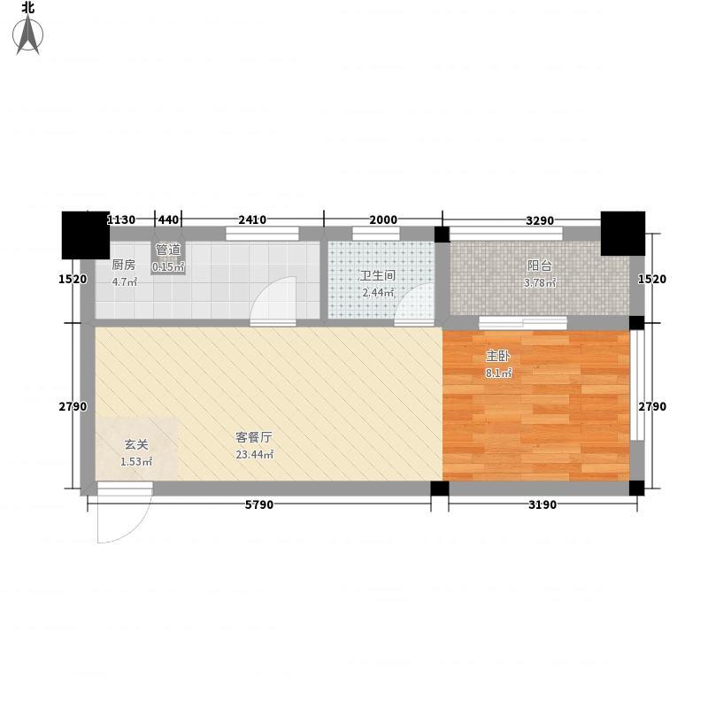 福乐门国际广场53.12㎡福乐门国际广场户型图1、2#楼A1户型1室1厅1卫1厨户型1室1厅1卫1厨