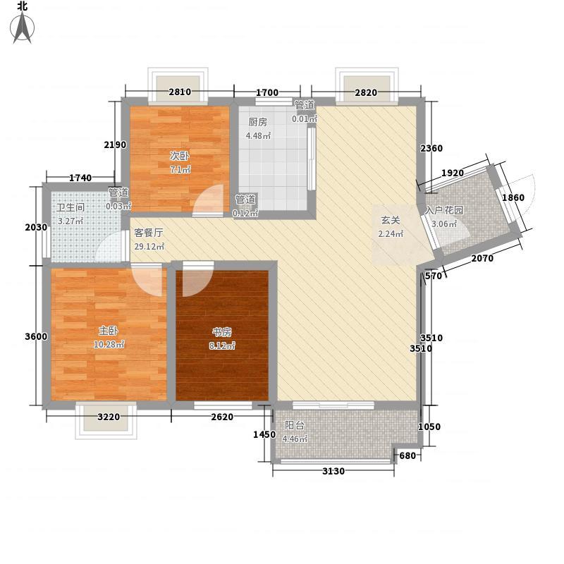 城建琥珀名城91.22㎡城建琥珀名城户型图沁园53#、55#GB-2户型3室2厅1卫1厨户型3室2厅1卫1厨