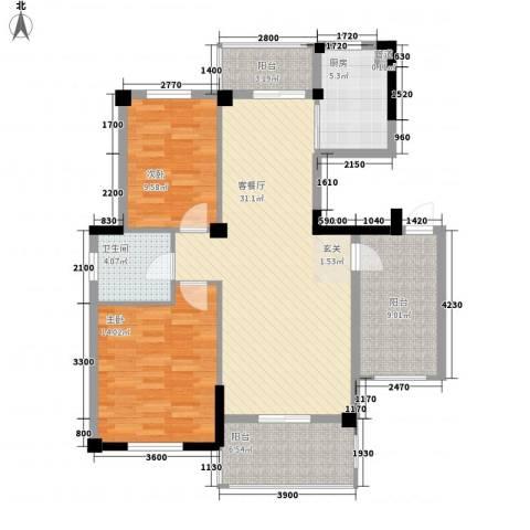 鹦鹉花园二期2室1厅1卫1厨117.00㎡户型图