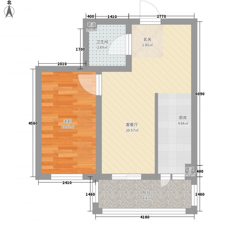 怡园绿景45.38㎡怡园绿景户型图A、B栋标准层户型E1室2厅1卫1厨户型1室2厅1卫1厨