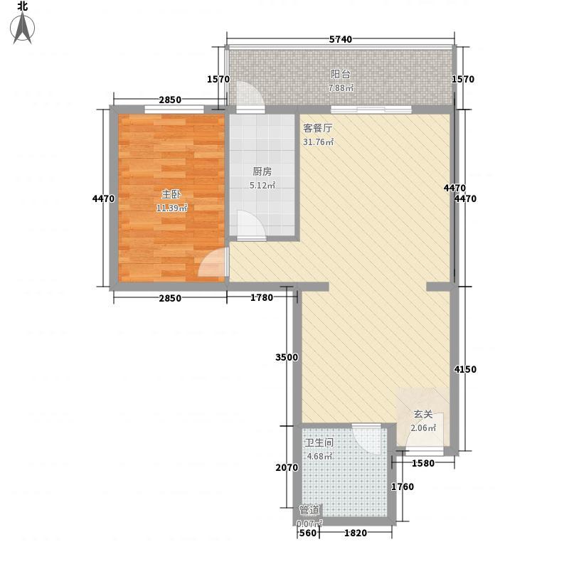 阳明广场85.41㎡B户型1室2厅1卫1厨