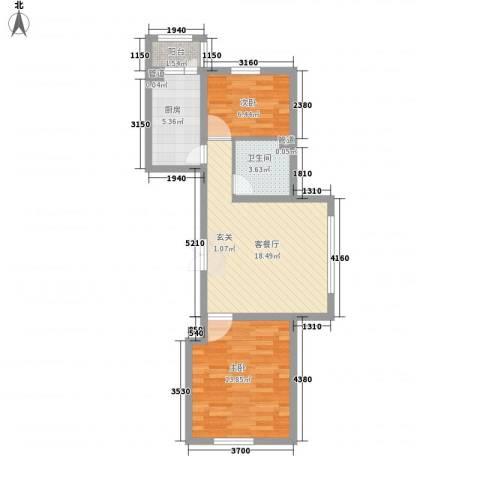 怡园绿景2室1厅1卫1厨58.00㎡户型图