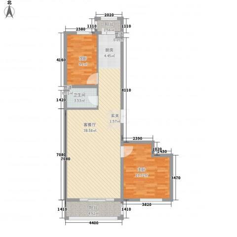 怡园绿景2室1厅1卫0厨81.00㎡户型图