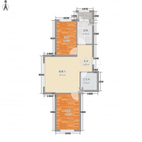 怡园绿景2室1厅1卫1厨62.00㎡户型图