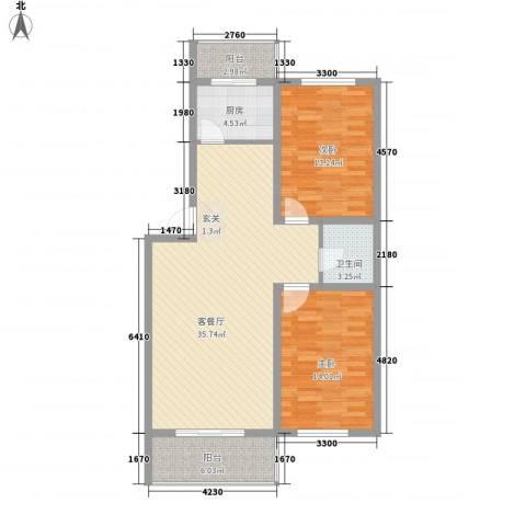环北家园三期2室1厅1卫1厨104.00㎡户型图