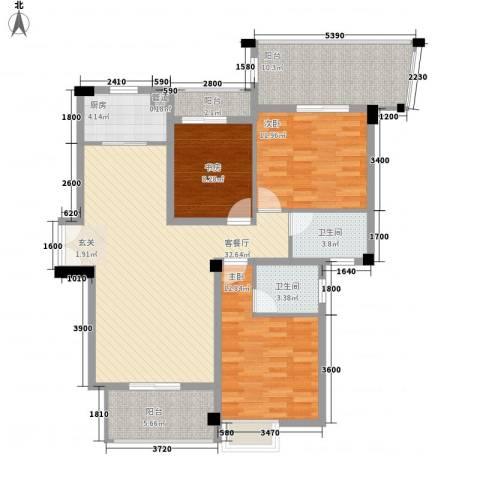 特房五缘尊府3室1厅2卫1厨95.28㎡户型图