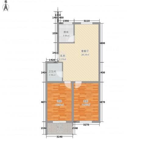 环北家园三期2室1厅1卫1厨91.00㎡户型图