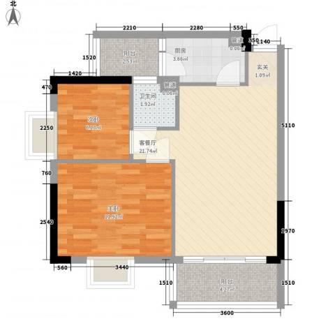 美陶花园2室1厅1卫1厨60.06㎡户型图