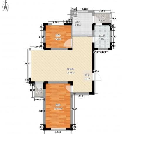 东方万达城2室1厅1卫1厨92.00㎡户型图