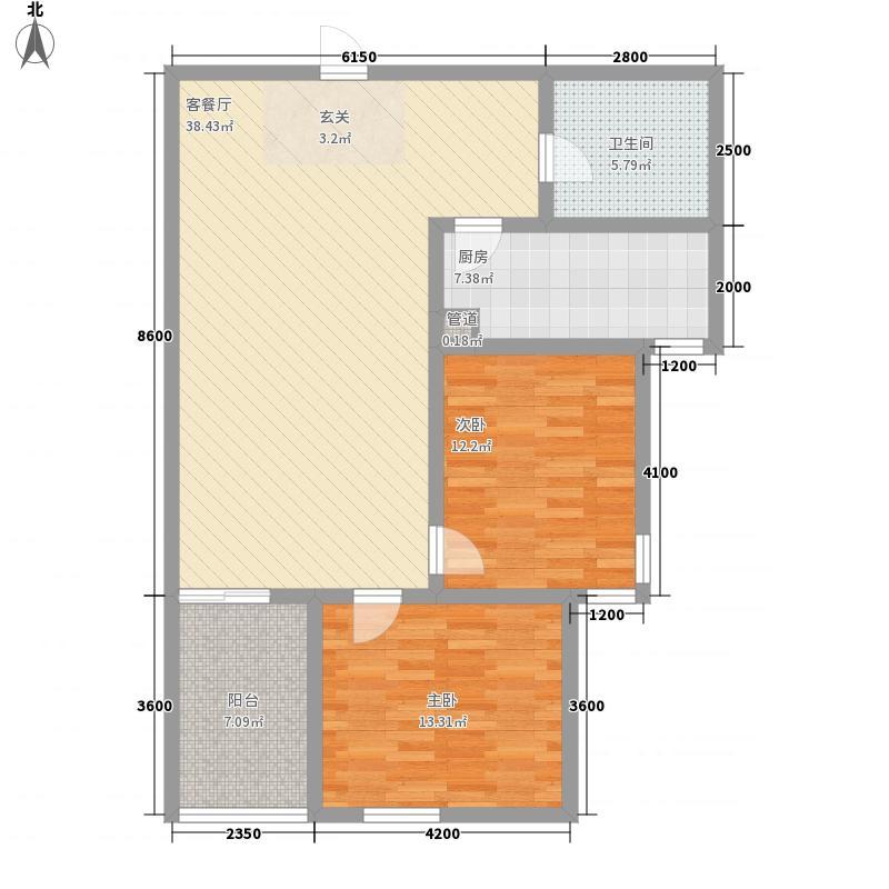 康宁美郡二期111.66㎡2期1#楼C户型2室2厅1卫1厨