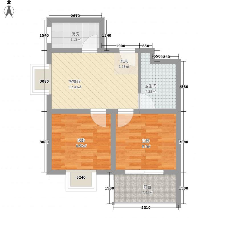 金安公寓6.88㎡一期标准层A2户型2室1厅1卫1厨