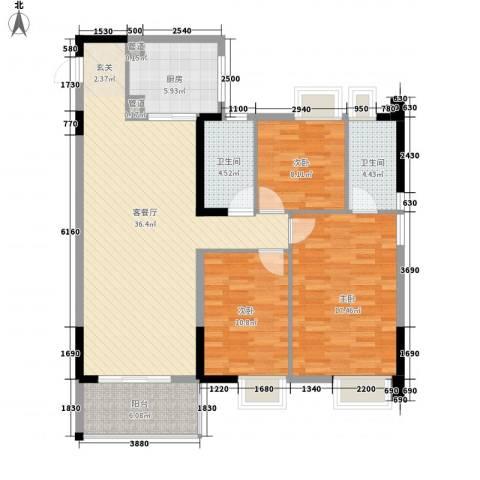 九溪江南3室1厅2卫1厨132.00㎡户型图