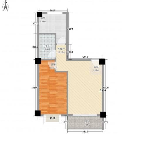 美景苑1室1厅1卫1厨63.00㎡户型图
