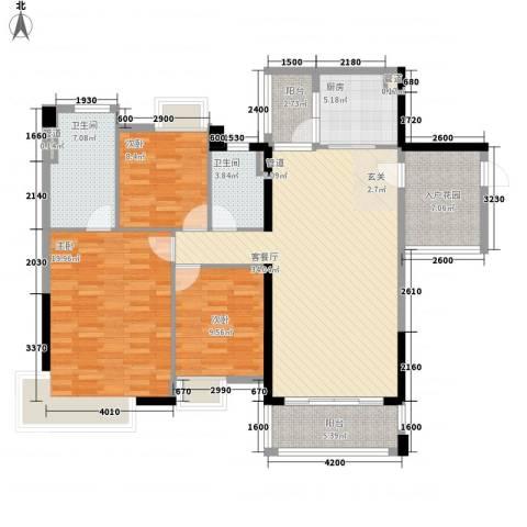 望龙轩3室1厅2卫1厨129.00㎡户型图