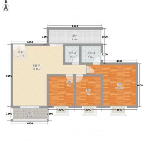 南新悦城3室1厅2卫1厨113.00㎡户型图