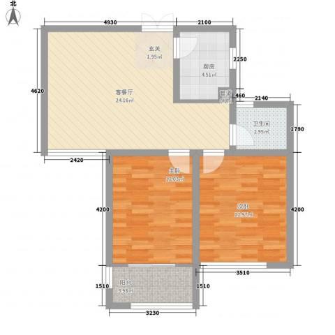 嘉盛龙庭2室1厅1卫1厨85.00㎡户型图