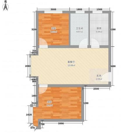 祺泰新居2室1厅1卫1厨54.08㎡户型图