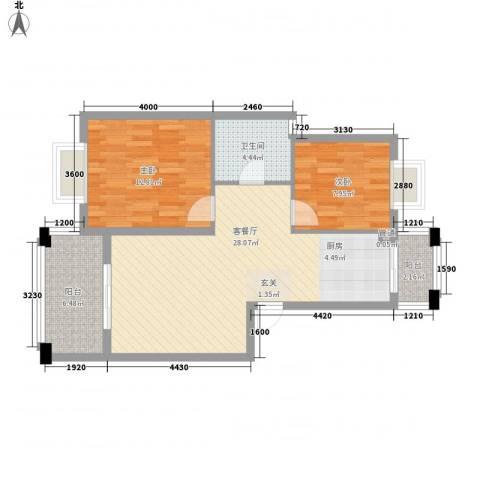 名仕紫金花园2室1厅1卫0厨88.00㎡户型图