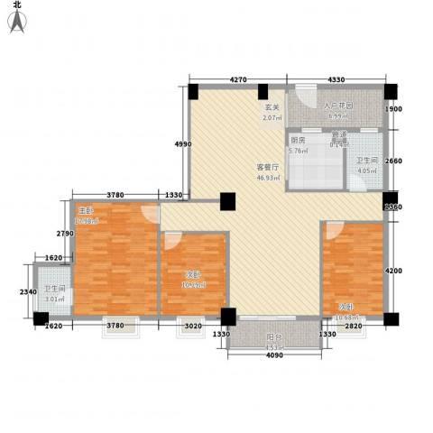 美景苑3室1厅2卫1厨120.00㎡户型图