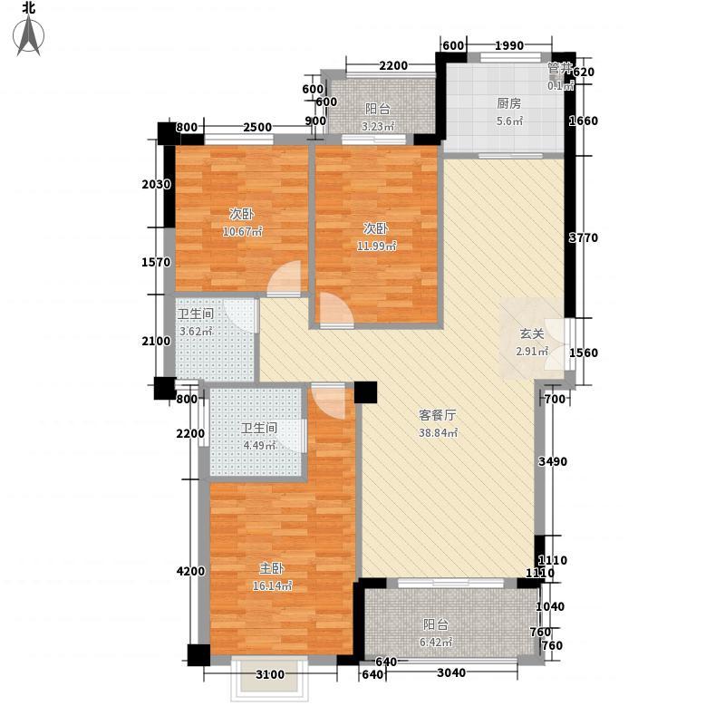 中瑞海西星城13.00㎡18#楼户型3室2厅2卫1厨