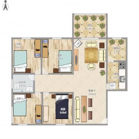 德丰二月天4室1厅1卫1厨88.00㎡户型图