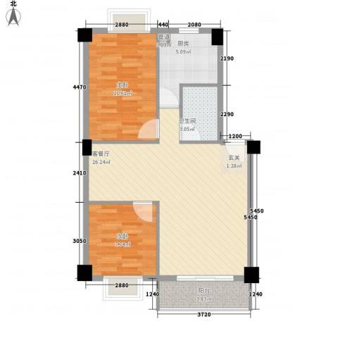 美景苑2室1厅1卫1厨120.00㎡户型图