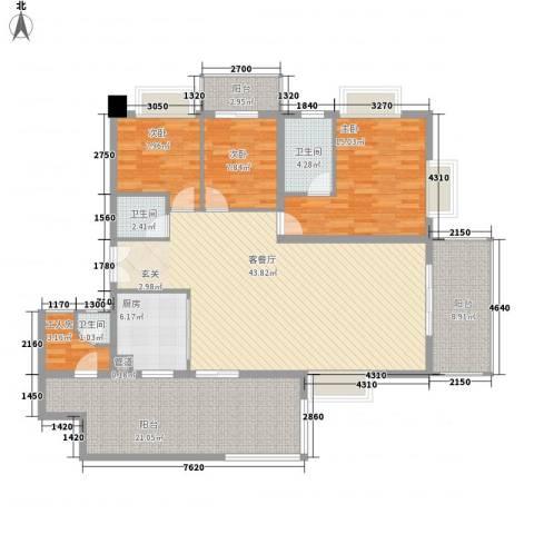 君临宝邸3室1厅3卫1厨175.00㎡户型图