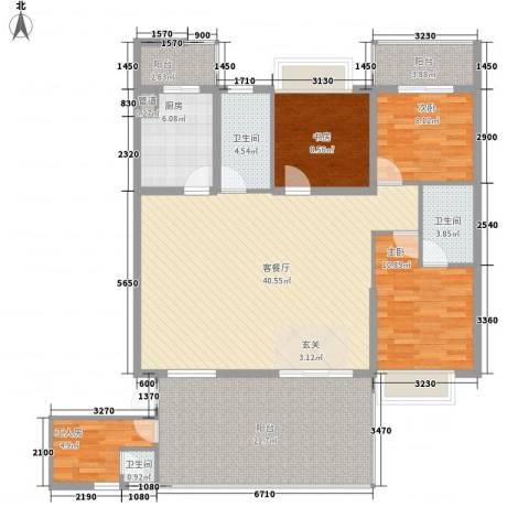 君临宝邸3室1厅3卫1厨164.00㎡户型图